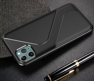 iPhone 11 Pro max X XR XS 6 8 macio TPU borracha Shock-Proof completa Capa Protect Voltar New Carbon Fiber Telefone Capa Para