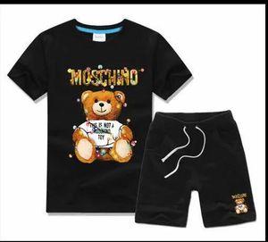 Lujo Logo Designer Kids Designer Establece Muchacho infantil ropa 2pcs / set Sistemas del cortocircuito del algodón del verano del bebé bebés y las muchachas