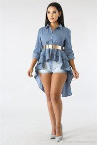 Primavera Striped Impresso Feminino Shirts Fashion Designer luva das mulheres lapela Tees Casual solta Painéis roupa das senhoras