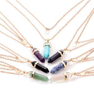 pierre naturelle Collier double couche Lune Choker cristal Chaînes d'or Quartz pour Femmes Coffret Cadeau Party