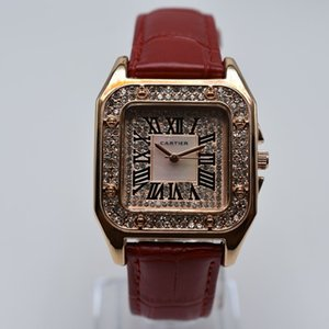 Orologio da polso da donna di lusso digitale romano con cinturino in pelle di quarzo quadrata quadrata da 35 mm Orologio da polso da donna in oro da donna dropshipping