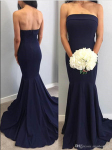 Cheap Strapless Navy Blue Strapless Mermaid Long Bridesmaid Dresses Ruched Floor Length Wedding Guest Maid Of Honor Evening Dresses BM0341