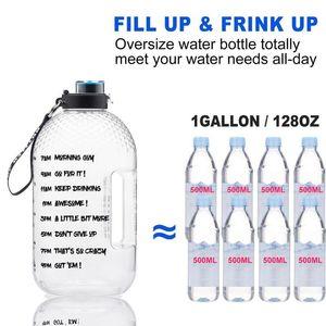 PET de plástico de boca larga Big Drinking Water Bottles 3.78L Gallon Jug BPA Esporte Academia Turismo GYM de viagem única item