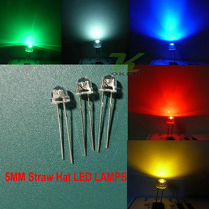 5 color 1000pcs lot 5mm White Red Blue Green Yellow Straw Hat Ultra Bright LEDS Diode Kit led 5mm Straw Hat LED Light Diodes Free Shipping