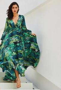 Vintacy Vestido de manga larga Verde Tropical Playa Vintage Vestidos largos Boho Casual Cuello en V Cinturón con cordones Túnica Drapeado Vestido de talla grande