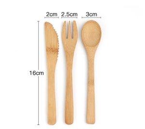 Fourchette de couteau de bambou et cuillère costume de vaisselle plate portable vaisselle jetable couteaux de couteaux fourchettes de la pratique des enfants Tablewares