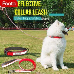 Pet Reflective Nylon Dog Collar and Leash Set Small Medium Big Dog Collar Pets Rope Leads Adjustable Cute Harness Y