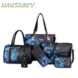HANSOMFY New Mulheres PU bolsas de couro Mulheres Impresso Sacos Designer 6 Pieces Set Bolsas de Ombro Bandoleira para as Mulheres Big Tote X1-38 CJ191209