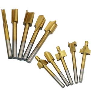 10pcs Router Bits Rotary impostare i file Taglio Carpenter tool fresa rivestito di titanio HSS legno Shank Usato per Dremel