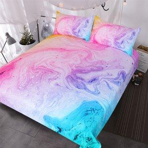 Juego de cama de mármol colorido Pastel rosa azul púrpura Quicksand Funda nórdica Juego de cama de arte abstracto Colcha de niña brillante