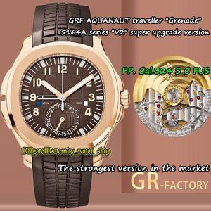 V2 New-версия 18K розового золота ГРФ Aquanaut Dual Time Zone Cal.324 S C FUS Автоматическая 5164 Мужские часы Brown-Dial 5164R-001 Sport-часы