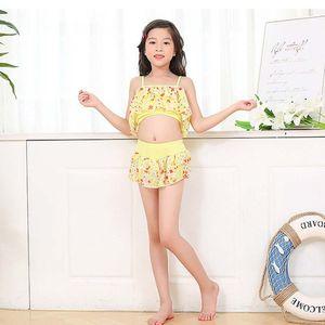 Kids Girl Swimwear Summer Little Girl Swimsuit Straps Floral Print Tops Skirt Shorts Kid Children Swimsuits Set Hot