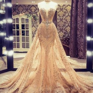 Light Champagne Overskirts Prom Dresses Sweetheart Beads Sequins Full Lace Mermaid Evening Dress Custom Made vestidos de fiesta Bridal Gowns