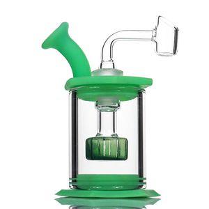 "4,5"" Montieren Silikon Bong Glas Duschkopf percolator Einfach sauber Dab Rigs mit 4mm Quarz banger Silikon Rohr mini Glas bongs"