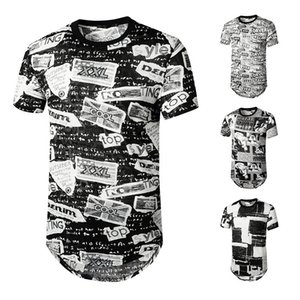 Men's English jacquard trendsetter hip-hop short-sleeved T-shirt H46-49 LI90