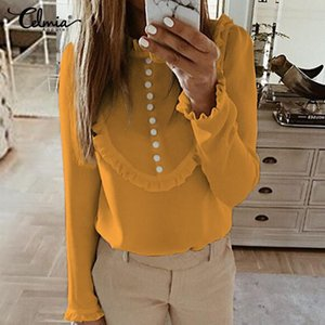 Women's Ruffles Blouses Celmia 2020 New Fashion Tops Long Sleeve Casual Solid Bottons Work Shirts Vintage Loose Blusas Plus Size