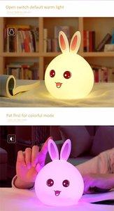 Yeni stil Tavşan Çocuk Bebek Çocuk Abajur Çok renkli Silikon Dokunmatik Sensör dokunun Kontrol Nightlight için Night Light LED