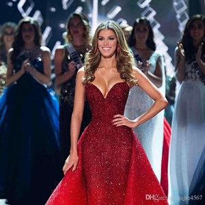2019 Novo Trem Destacável Full Beads Lantejoulas Prom Vestido de Luxo Dubai Árabe Vestido Formal Do Partido À Noite Vermelho Querida Sereia Vestidos de Noite