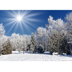 Солнечный свет снег деревья Фотографический Фон на Рождество Виниловой ткани Backgrounds для детей Детских семей Photocall Fond Фото