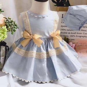 2PCS GIrl Printemps Eté bébé manches Vintage Spanish Lolita Princesse robe de bal robe pour fille de Pâques de fête d'anniversaire Casual