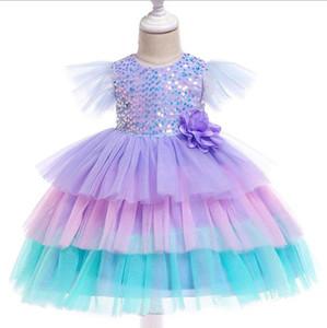 Vieeoease Girls Dress Flower Kids Dress 2019 가을 패션 플라이 슬리브 레이스 블링 프린세스 드레스 CC-508