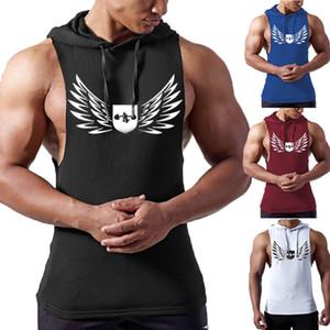 Homens ginásio colete esportes longarina regata camisa relaxada bodybuilding racer voltar homem casual camuflagem com capuz colete masculino roupas masculinas