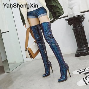 Customizable Size Over the Knee Shoes Woman Boots Patent Leather Snake Sexy Boots High Heels 11.5CM Ladies Booties High Leg Boots
