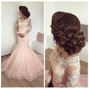 Vintage lumière rose sirène arabe robes de bal 2019 dentelle appliques manches longues femmes plus la taille robe de soirée