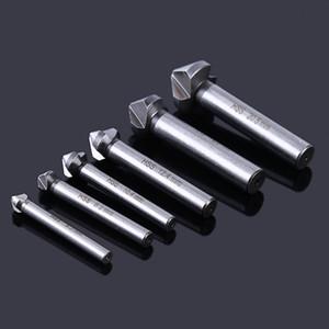 6PC Chanfreinage machine à trois lames 90 DEgrés Broyage haute vitesse en acier Chanfreinage machine Cutter bois Drill Set trou