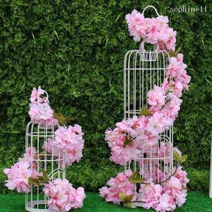 Montado en la pared 5.8ft artificial flor de cerezo de la guirnalda colgante de ratán Vine seda rota boda del partido de decoración en blanco