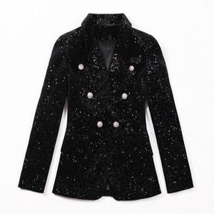 2019 Giacca da giacca invernale Cappotto da donna con etichetta Giacca da paillettes sexy OL Giacca da lavoro formale Giacca nera Mujer Giacche da cappotto con colletto rovesciato