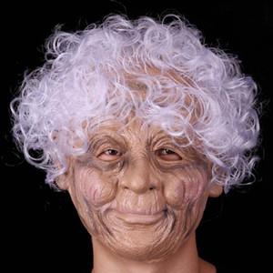New Hot látex máscara feminina mulheres velhas látex máscara do partido masquerade silicone realista natal rosto cheio humanos máscaras de Halloween