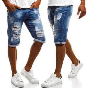 Diseñador Jeans azul del verano del color sólido de los pantalones vaqueros ocasionales masculinos pantalones casuales delgadas para hombre del agujero