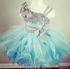 2020 Nuevo Puffy Crystal Beaded Glitz Cupcake Pageant Vestidos Vestido de fiesta de cumpleaños de organza con volantes de color azul claro Niñas pequeñas