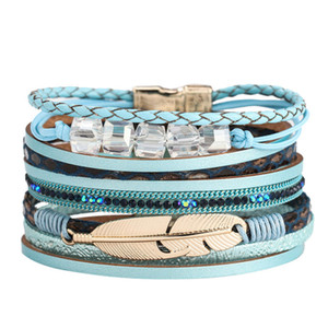 Exquisite Armbänder Frauen Feder Armband-Verpackungs-Armband-Kristallarmband Handgemachter Schmuck Edel Bohemian Geschenk Armband