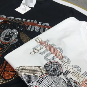 carta de lujo con lentejuelas de impresión de manga corta diseñador camiseta de la manera camiseta de alta calidad Flojo los hombres y de las mujeres camiseta de las nuevas mujeres