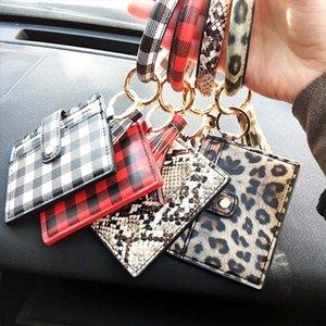 Armband Keychain Mappen-Leopard-Schlange PU-Leder-Troddel-Frauen-Karten-Beutel-Frauen-Hand Wristlet Schlüsselanhänger Neuheit-Einzelteile 100pcs OOA8090