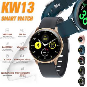 Reloj elegante KW13 1,2 pulgadas de pantalla AMOLED táctil completa Rastreador Health Monitor pasómetro Bluetooth relojes inteligentes con la aptitud del deporte caja al por menor