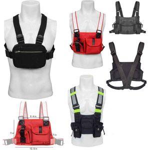 Регулируемый Tactical Vest Chest Rig Радио Chest Harness кобура Walkie Talkie сумка Открытый спорт Светоотражающие полосы Ткань Оксфорд Packe