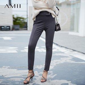 Amii minimalista de cintura alta pantalones del lápiz de otoño Mujeres sólido pantalones largos ocasionales adelgazan femeninos 11765500