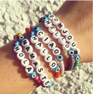 VSCO فتاة مطرز أساور مجوهرات الأزياء VSCO فتاة DIY رسائل قل مرحبا الصداقة كاندي اللون الخرز اليدوية السواحل أساور