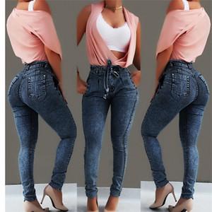 JAYCOSIN Women Clothing Jeans Elastic Tassel Denim Trousers Casual Small Feet Slim Fit Jeans High Waist Skinny Plus Size Pants