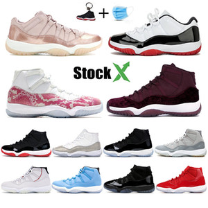 Stok ile x 11 erkek 11 s basketbol ayakkabıları mirasçı gece maroon pantone bred concord yılan cilt düşük gül altın erkek kadın tasarımcı sneakers