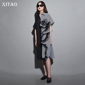 Xitao Black Summer Long Dress Femmes Stripe Plus La Taille Patchwork Ruffle Irrégulier Midi Robe Élégant Casual Personnalité Kzh969 T3190610