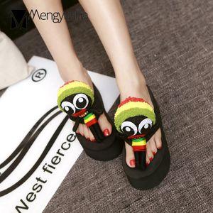 cartoon slippers girls knitting fretwork platform slides summer beach 7cm wedges flip flops mujer