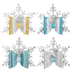 Glitter Weihnachten Hair Clips für Mädchen Handmade Double-Layer-Silber-Schneeflocke Haarnadel Baby-Bogen Barrettes Partei-Weihnachtshaarschmuck M603
