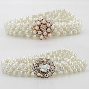 arrivals sales 1pc elegant women pearl belt waist belt elastic buckle pearl chain belt female girls dress crystal strap free