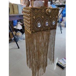 DOYUTIG Inde Conception Femmes Long Glands Artisanale strass Perles Box Clutch Lady classiques Boîte Sacs de soirée pour le mariage F697