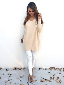 New Fashion autumn Women Ladies Casual Pullovers tops Long Sleeve Loose v-neck casual long sweatshirts tops