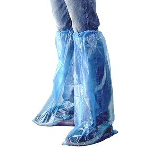 Plastik Uzun Ayakkabı Kapak Şeffaf Su geçirmez kaymaz kaplı 60 adet tek kullanımlık Ayakkabı Kapak Mavi Yağmur Botları ve Botları